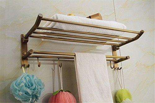 ewtyrgf Badezimmer Wand montiert Handtuch Bars Handtuchhalter Alle Kupfer Antik Falten Handtuchhalter Doppel Regalen an der Wand Montieren. (Doppel-regal)