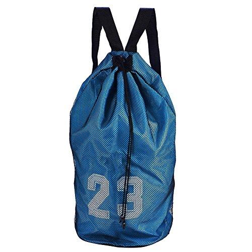 Dioche Balltasche, Basketball Fußball Sport Training Ausübung Mesh Rucksack Schulter Kordelzug(Blau)
