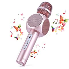Idea Regalo - Microfono Karaoke Bluetooth Wireless Fede + Altoparlante Bluetooth con 2 Casse Incorporate, Karaoke Portatile per Cantare, Funzione Eco, Compatibile con Android/iOS, PC o smartphone