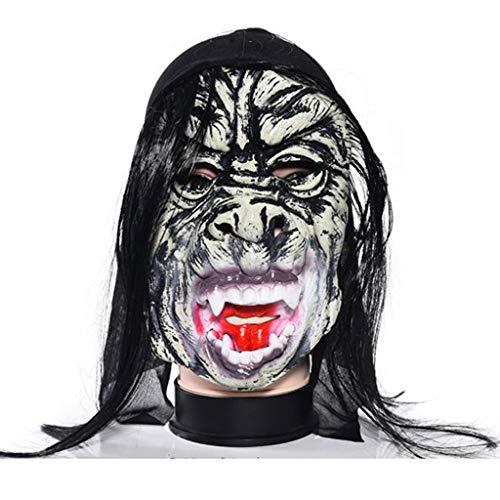 (LTOOLA Halloween Masquerade Maske Natürliche Umweltfreundliche Ungiftige Horror-Geister Maske Ganze Person Horror Latex Wig,E)