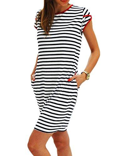 Sommer SeXy Tunika Marine Kleid mit Taschen Kurzarm Urlaub (343) (M)