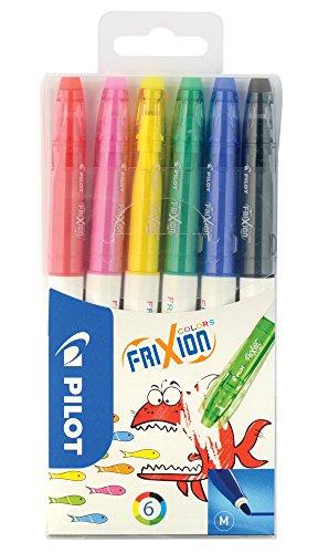 PILOT FriXion Colors, radierbarer Fasermaler, 6er Set (Cool Ball Marker)