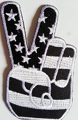 """Toppe toppa patch applicazioni termoadesive termoadesiva ricamate ricamato adesiva da cucire per stoffa jeans cucito"""" USA PEACE FINGERS bianco/nero 8 cm """""""