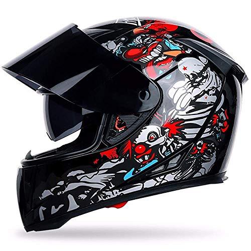 WWSUNNY Casco Moto, Casco Motocross Casco da Moto Integrale Visiera Doppia Casco Moto Casco Moto Integrale/Aperto Casco Moto Ciclomotore Casco Scooter Certificato