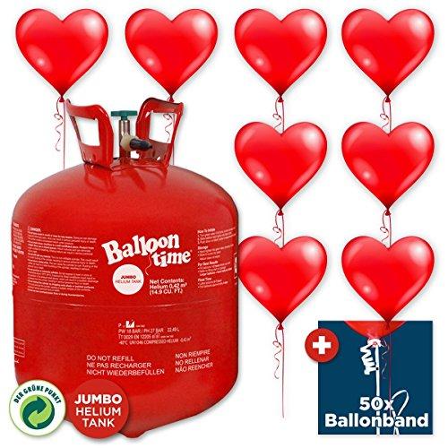 Helium & Ballons Happy Wedding - Ballongas Helium Jumbo Flasche + 50 rote Herz-Ballons + 50x Ballonband mit Quick-&-Easy-Verschluss - für Hochzeit, Liebe & Valentinstag (Helium-tank Für 50 Ballons)