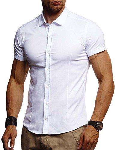 Leif Nelson Herren weißes Hemd Slim Fit Kurzarm Schwarzes Männer Stretch Kurzarmhemd Freizeithemd Jungen Kurzarmshirt Sommerhemd Business T-Shirt Freizeit Party LN3520 Weiß Large