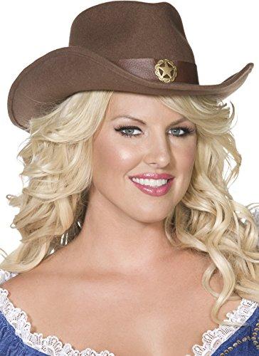 Preisvergleich Produktbild Fever Wilder Westen Cowboy-Hut Braun Filz mit goldenem Stern verziert, One Size