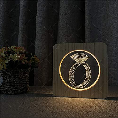 Acryl-leg Warmers (3D Illusionslampe 3D Holz Acryl Illusion LED Nachtlampe USB Powered Switch Taste Kreative Ring Schmuckmuster Warme Lichter Schreibtischlampe Geschenk Für Kinder Kinder Erwachsene Schlafzimmer Wohnzimm)