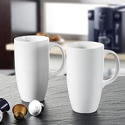 Panbado 2-teilig Große Kaffeetassen aus Weiß Porzellan, 630 ml Tassen Set, 5