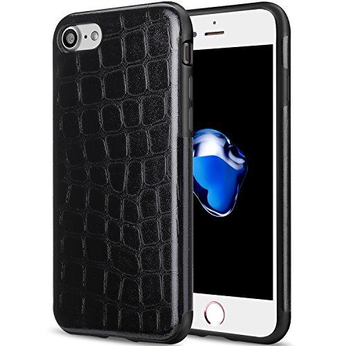 TENDLIN iPhone 7 Hülle Krokodilleder Flexiblem TPU Silikon Hybrid Schutzhülle Schwarz Schwarz