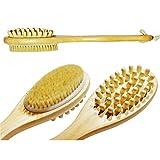 NUOLUX Wooden Double Sided Bath Shower Bristle Brush Massage Body Brush with Long Handle