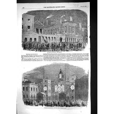 Una Stampa Antica delle Guardie 1856 di Cavallo di Ministero Della Marina di Illuminazioni di Pace Whitehall Lo…