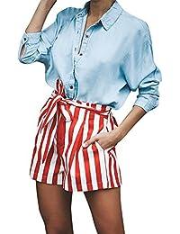 e082fb7a5794 QUINTRA Sommer Shorts Kurze Hosen Damen,Lässige Strand Hohe Taille Lose  Modische Mittelhoher Taille Hosen