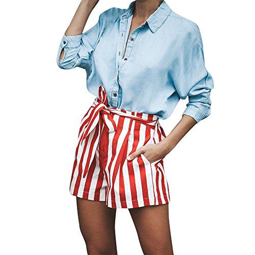 QUINTRA Frauen Striped Hohe Taille Bandage Einfach Bowtie Elastische Beiläufige Kurze - Frauen Boxing Shorts