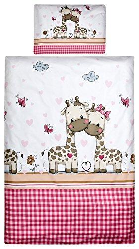 Bett Bettwäsche Kissen (Aminata Kids Baby-Bettwäsche-Set Mädchen 100-x-135 cm Giraffe Herz Zoo-Tier-e Klein-Kinder-Bettwäsche Betten-Set 100-% Baumwolle Renforce Weiss-e pink rosa Reißverschluss)