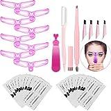 ANDERK Pochoir Sourcils, Kit Sourcils Maquillage, 8 Styles Sourcils Carte,Modèle de Sourcil Réutilisable Outil pour Débutant Maquillage Pochoirs à Sourcils Kit