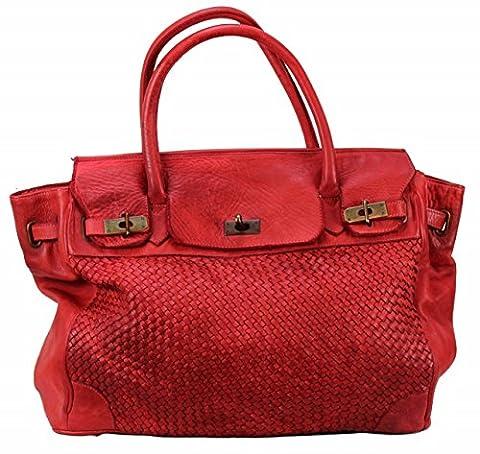 Bozana Bag Klara rosso rot Italy Designer Damen Handtasche Schultertasche Tasche Leder Shopper Neu