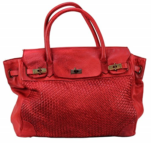 BOZANA Bag Klara rosso rot Italy Designer Damen Handtasche Ledertasche Schultertasche Tasche Leder Shopper Neu -
