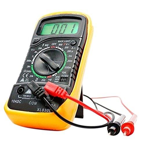XL830L - Voltímetro digital con pantalla LCD, ohmio, amperímetro y multímetro OHM, amarillo