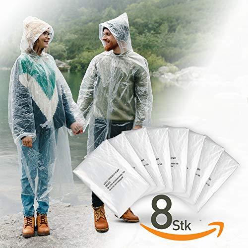 oncho einweg transparent mit Kapuze für Damen und Männer - Regenschutz zum Wandern, für Festivals, Gartenarbeit - wasserabweisender Regencape durchsichtig ()