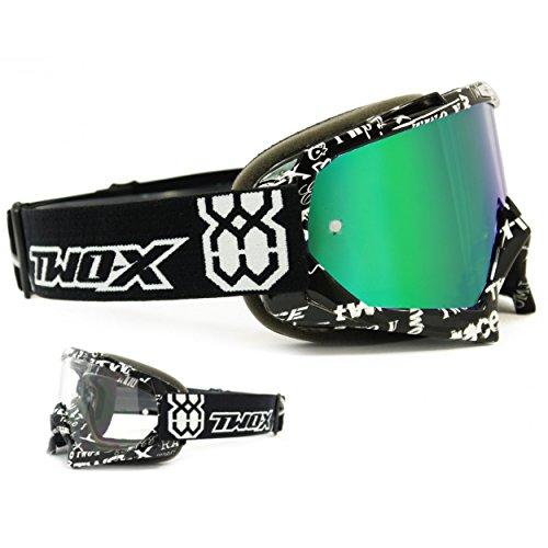 TWO-X Race Crossbrille Text schwarz weiss Glas verspiegelt grün MX Brille Motocross Enduro Spiegelglas Motorradbrille Anti Scratch MX Schutzbrille