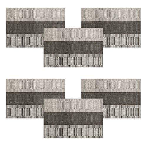 U'artlines Set de Table, Lot DE 6 Sets de Table Tressé en Vinyle antidérapant Lavable Isolation Thermique (6 Sets de Table, Gris&Noir)