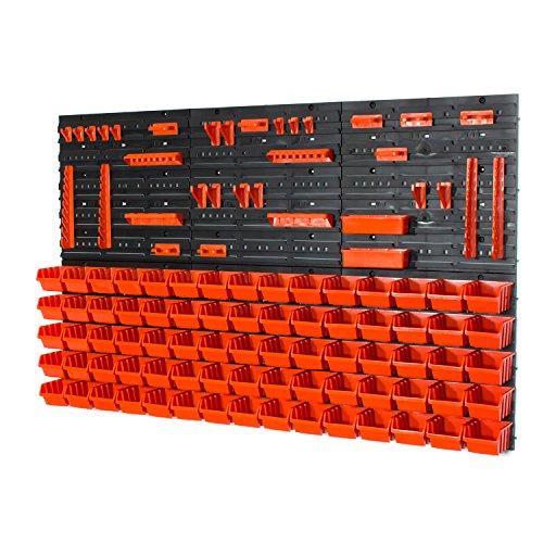 81 tlg. Wandregal Lagerregal Stapelboxen Halterung Orange POP Serie Gr.1