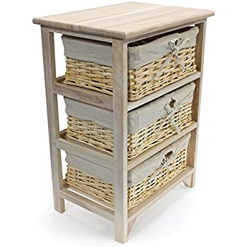 Very best Sabichi Paulownia 3 Tier Drawer Wooden Storage Cabinet With Wicker  HB63