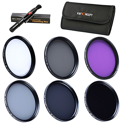 K&F Concept 37mm 6pcs UV CPL FLD ND2 ND4 ND8 Lens Filter Kit UV Protector Circular Polarizing Filter Neutral Density Filter Set for Panasonic LUMIX DMC-LX7 + Cleaning Pen + 6 Slot Filter Pouch Protector Kit