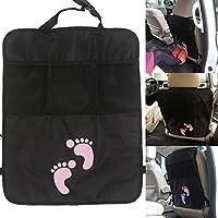 IntiPal Kick-Protezione per sedile auto, tappetini per auto, con tasche a rete portaoggetti, compatibile con la maggior parte dei veicoli, per mantenere Yours-Seggiolino auto da bambini, facile da pulire, piedini sporca di fango