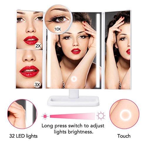 Espejo de maquillaje LED recargable Espejo de maquillaje plegable ACOCO  DIMMABLE INALÁMBRICO Toc Control Espejo / espejo de maquillaje  Espejo de mesa plegable  Espejo de pie iluminado  24 LED naturales  3 páginas  180¡Ajustable  4 modos de verificación 1X / 2X / 3X / 10X AAA con pilas o recargable con cable USB