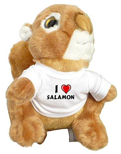 Preisvergleich Produktbild Personalisiertes Eichhörnchen Plüsch Spielzeug mit T-shirt mit Aufschrift Ich liebe Salamon (Vorname/Zuname/Spitzname)