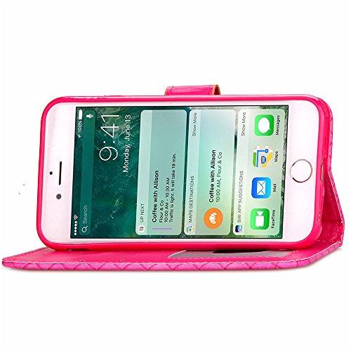 iPhone 7 Custodia, TOTOOSE per iPhone 7 Woven Pattern PU pelle Portafoglio Case con Flip Stand Funzione Cornice per foto e slot per schede TPU Silicone Morbido Cover Chiusura Magnetica R