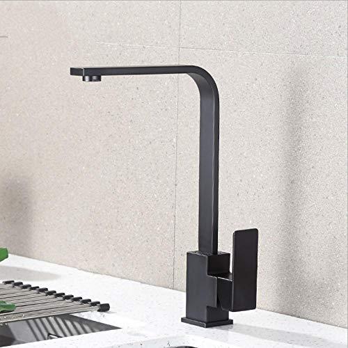 wffmx Poliert Schwarz Messing Schwenkbar Spülbecken Wasserhahn 360-Grad-Drehung Küchenmischbatterie