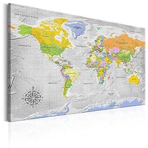 murando® Bilder Deutsche Weltkarte XXL 90x60 cm mit Kork Top Design Wandbild Leinwand Kork Weltkarte - Neue Limited-Edition - Top aktuelle Weltkarte 2017 mit allen Details - Inkl.50 Markierfähnchen, Pinnnadeln! -100% Natur-Kork & Holzrahmen, aufgespannt auf Echtes-Holz-Rahmen (Echte Handarbeit) einteilig Pinnwand Welt Karte Kontinent Landkarte k-A-0153-p-a90x60