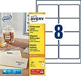 Avery 800 Etiquettes Autocollantes Multi-usages (8 par Feuille) - 105x70mm -  Impression Laser, Jet d'Encre  - Blanc (3426)