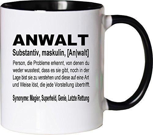 Mister Merchandise Kaffeebecher Tasse Anwalt Definition Geschenk Gag Job Beruf Arbeit Witzig Spruch Teetasse Becher Weiß-Schwarz