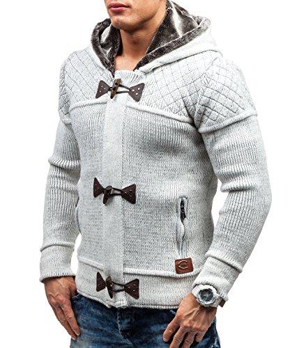BOLF Herrenpullover Pulli Sweatshirt Sweatjacke Sweater mit Kapuze Reißverschluss COMEOR 311 Weiß