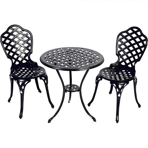 Balkonset 3tlg. schwarz Aluminiumguß Bistroset Gartenmöbel Sitzgruppe
