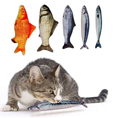 Ducomi gioco per gatto - giocattolo catnip interattivo e stimolante - peluche a forma di pesce riempiti di erba gatta - imbottito con cotone di polipropilene ed erba gatta 100% naturale (5 pezzi)