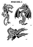 UNLIMITED STENCILS 3 XXL Airbrush-Schablonen MYLAR #042 Drachen, Adler, Leopard