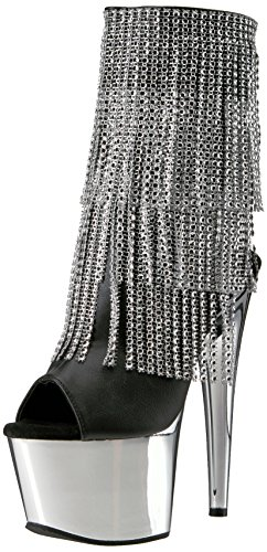 Pleaser Damen Adore-1024RSF Stiefel, Schwarz (Silver Chrome), 36 EU Chrome High Heel