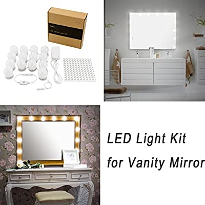 WanEway Hollywood DIY Vanity Lights Strip Kit for Lighted Makeup Dressing Table Mirror Plug in LED Lighting Fixture with Dimmer and Power Supply, 14 Light / 20 FT, Mirror Not Included - inexpensive UK light shop.