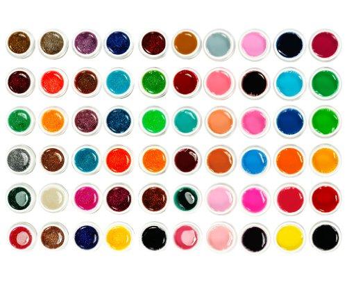 Micro Trader Lot de 60 pots de vernis gel UV purs et brillants pour nail art