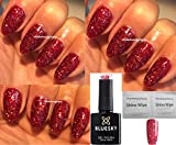 BLUESKY rot Glitzer Diamant blz35 Nagellack-Gel UV-LED-Soak Off 10 ml plus 2 LuvliNail Shine Tücher