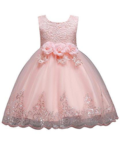 Babyonlinedress® Mädchen Kleid Festlich Blush Blumen-mädchen Spitze Blumen Pailletten Kleid Prinzessin Party Kleid Hochzeit Festzug 110 cm