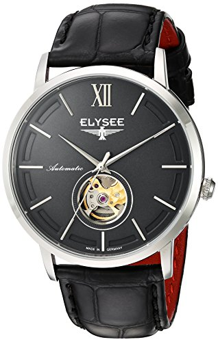ELYSEE Men's Picus 41.5mm Black Leather Band Steel Case Automatic Grey Dial Analog Watch 77010G