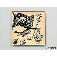 Pirates Flag Wall Clock - Kids Nursery Room, Teens Room, Baby Room - Wall Clock