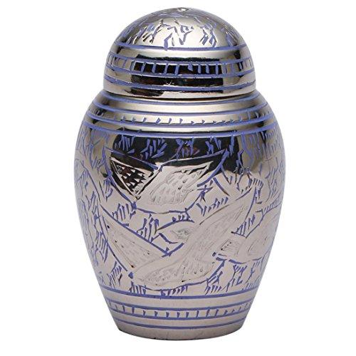 Dome Top Going Home Urne für Asche, Verbrennung klein Messing Urne blau -