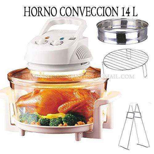 Suinga Horno DE CONVECCION 12 litros 1200-1400W Halógeno. Capacidad de 12L + 6L. Recipiente de Vidrio...